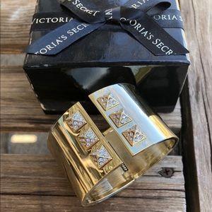 Victoria Secret Gold bangle with diamond studs